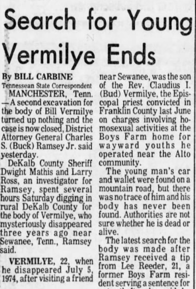 1977 story on the disappearance of Bill Vermilye